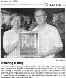 Cashiers Historical Society awards Dovecote the 2014 Village Heritage Award