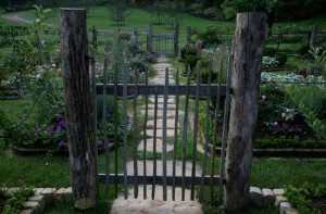 A Rustic Entrance to Flower & Herb Garden Plots at Beall Blackberry Farm, TN